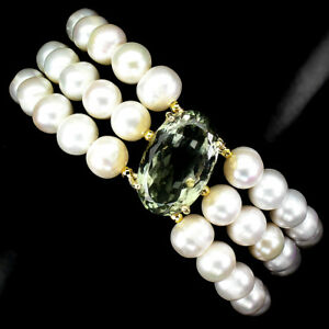 Oval Green Amethyst 21x13mm Pearl 925 Sterling Silver Bracelet 9 Inches