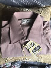 Vintage 40s Rockabilly Nelson-Paige Sanforized French Cuff Mauve Shirt 15 NOS M