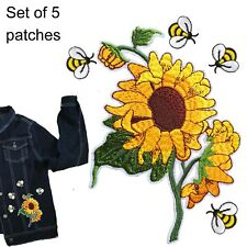 Sunflower bees Iron on patch 5 pack sun flower head happy iron-on patches set