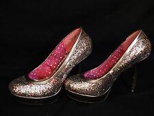 XOXO Woman's Size 8 High Heel Glitter Shoes Chloe Silver Pink Red Blue Purple