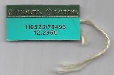 Vintage ROLEX Green Hang Tag Sello 116523/78493 ROLEX DAYTONA Tag Showcase