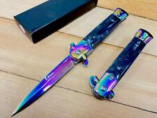 "9""Rainbow Italian Milano Stiletto Spring Assisted Folding Pocket Knife. Survival"