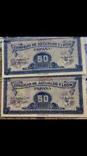 Pareja Correlativa 50 Céntimos 1936 Consejo De Asturias Y León Sc