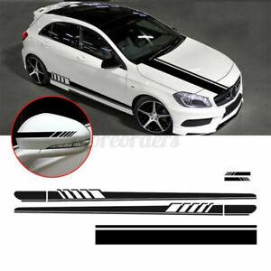 5Pcs Racing Car Side Body Long Stripe Vinyl Door Hood Roof Decals Sticker Black