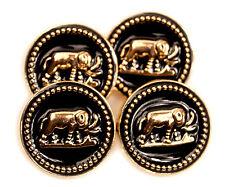 "New Set of 4 Elephant Black & Gold Color Metal Enamel Buttons .75"""