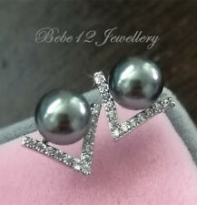Sterling Silver Post/Simulated Diamond/Dark Grey Pearl Stud Earring/RGE662