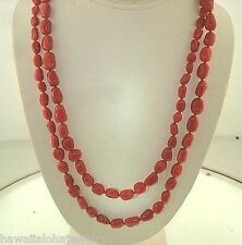 """Graduated Sardinia Freeform Branch Italian Red Coral Bead 14k Gold Necklace 40"""""""