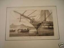 79-8-10 Gravure XIXe Maritime avant d'un vaisseau
