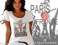 Women's Fashion t-shirt, PARIS cotton tee, all sizes