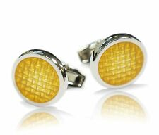 Yellow Circle Weave Mens Gift Set Cufflink