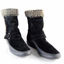 Stuart Weitzman Women Black Suede Back Zip Ankle Boot Faux Fur Lining US Size 8
