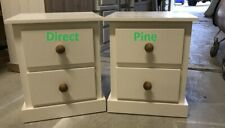 X 2 (PAIR) AYLESBURY 2 DRAWER BEDSIDE CABINETS CREAM WITH ANTIQUE WAX HANDLES