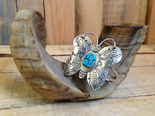 vtg NAVAJO sterling silver TURQUOISE butterfly CUFF bracelet UNUSUAL rare VGC