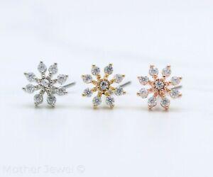 STARBURST SIMULATED DIAMOND SILVER YELLOW ROSE GOLD IP ELBOW NOSE PIERCING STUD