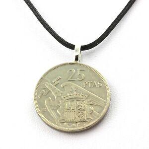 Collier pièce de monnaie Espagne 25 pesetas Franco