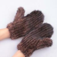 Women 100% Pure Mink Fur Knitted Gloves Mittens Warm Winter 2017 Brand New