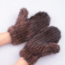 Women 100% Pure Mink Fur Knitted Gloves Mittens Warm Winter 2017 Brand New