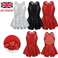 UK Girls Sequined Leotard Modern Dance Tap Jazz Dancewear Ballet Dress Costume