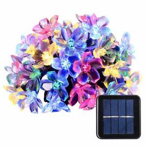 50 LED Solar String Lights Flower Bulbs Garden Outdoor Party Fairy Decor Lamp UK
