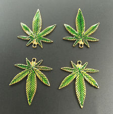 Wholesale 10Pcs Gold Tone Green Enamel Cannabis Marijuana Leaf Charm Pendants