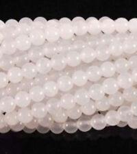 """8mm Beautiful White Jade Round Loose Beads 15""""bhsdggvvg"""