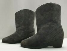 BERWICK ladies womens grey real suede mid calf faux fur lined boots Size 6 EU 39