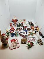 Vintage Huge Estate Lot of 40+ Christmas Ornaments Wood, Metal, Handmade Etc