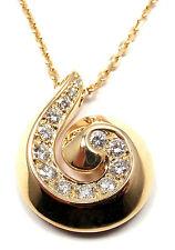 Authentic! VAN CLEEF & ARPELS Breeze 18k Yellow Gold Diamond Swirl Necklace