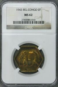 Belgian Congo 1943 2 Francs NGC MS 62 Some Colorful Toning  S372