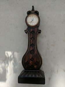 """Resin Decorative Clock, 13.5"""" tall, brown classical design. In running order."""