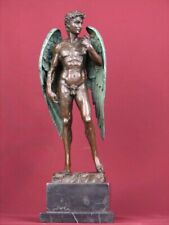 SIGHED BRONZE SCULPTURE  MALE ART MYTHOLOGY  STATUE ON MARBLE BASE