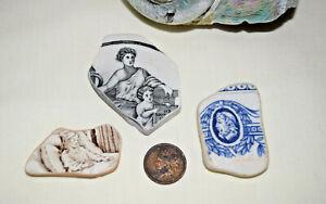 Beautiful pictorial  pottery shards, women child , roman, Beach finds, England