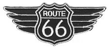 ROUTE 66 WINGS - HIGHWAY - BIKER - ROAD SIGN - EMBLEM - HISTORIC - IRON ON PATCH