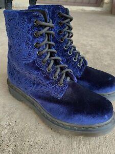 RARE🔥 Dr Doc Martens 1460 Brocade Royal Blue Velvet Combat Boots Sz 6 Velour