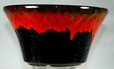 "CAL ORIGINALS F.A-140 RED ON BLACK DRIP GLAZE  7"" BOWL"