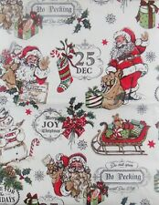 Santa's Merry Christmas Collage Vinyl Flannel Back Tablecloth Various Sizes