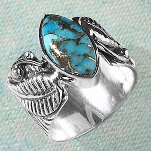 Women Fashion 925 Silver Turquoise Leaf Ring Band Party Jewelry Girl Size 5-10