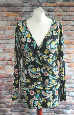 Joe Browns Faux Wrap Top Dark Grey Floral Botanical Baroque Plus New Size 16