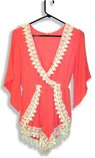 Tea & Cup Los Angeles Coral Cotton Ribbed Gauze Peasant Boho Romper with Lace-M