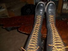 VINTAGE FRYE  LACE UP LOGGER BOOTS BLACK  WOMAN'S 9 BLACK LABEL STEAMPUNK
