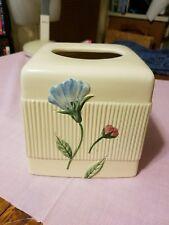 Wamsutta Ceramic Square Tissue Box Cover Field Flowers 3D Almond Colors