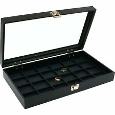 24 Slot Jewelry Coin Black Display Tray Glass Lid Case