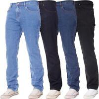 New KRUZE Classic Mens Work Jeans Straight Leg Regular Fit Basic Denim All Sizes