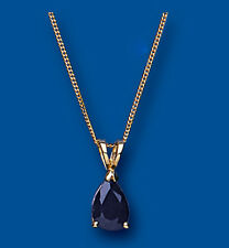 "Yellow Gold Sapphire Pendant Pear Solitaire Hallmarked 18"" Chain British Made"
