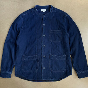 Wallace & Barnes J.Crew Collarless Chore Jacket Quilted Cotton Indigo L