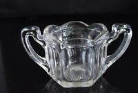 Vintage, pressed glass, open sugar bowl, scalloped rim, 6 sides