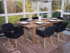 6x chaise de salle à manger Altena II, fauteuil, design rétro ~ tissu, noir