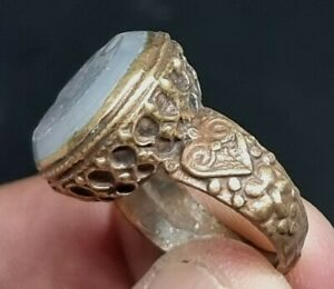EXTREMELY RARE ANCIENT ROMAN GOLD GILTED SEAL RING SUPERB RARE STONE.