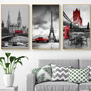 Black and White Big Ben Canvas Painting Bridge Tower Cityscape Posters and