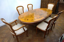 Antik Alt Esszimmer Tisch Tafel Gruppe 6 Stühle Ausziehbar Biedermeier Old Rare